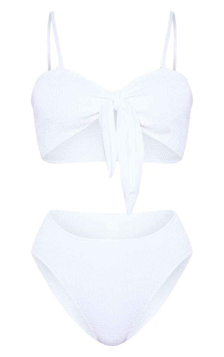 White Crinkle Bow Bikini Top 3