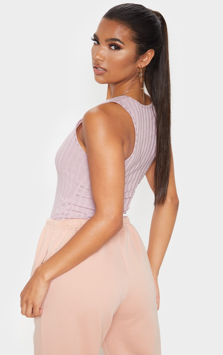 Dusty Lilac Ribbed Racerback Vest 2