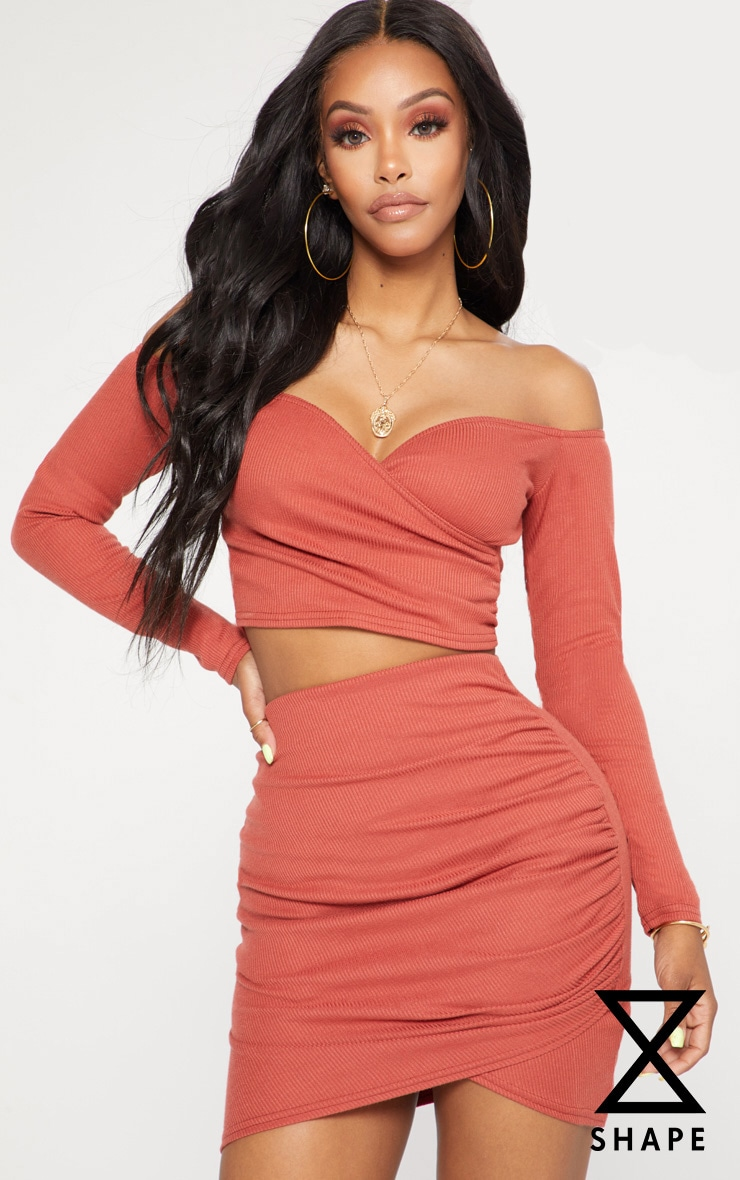 Shape Rust Ribbed Wrap Bardot Crop Top 1
