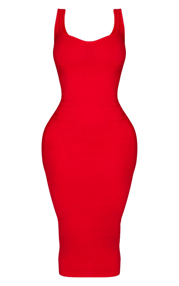 Shape Red Cup Detail Strappy Midi Dress 3