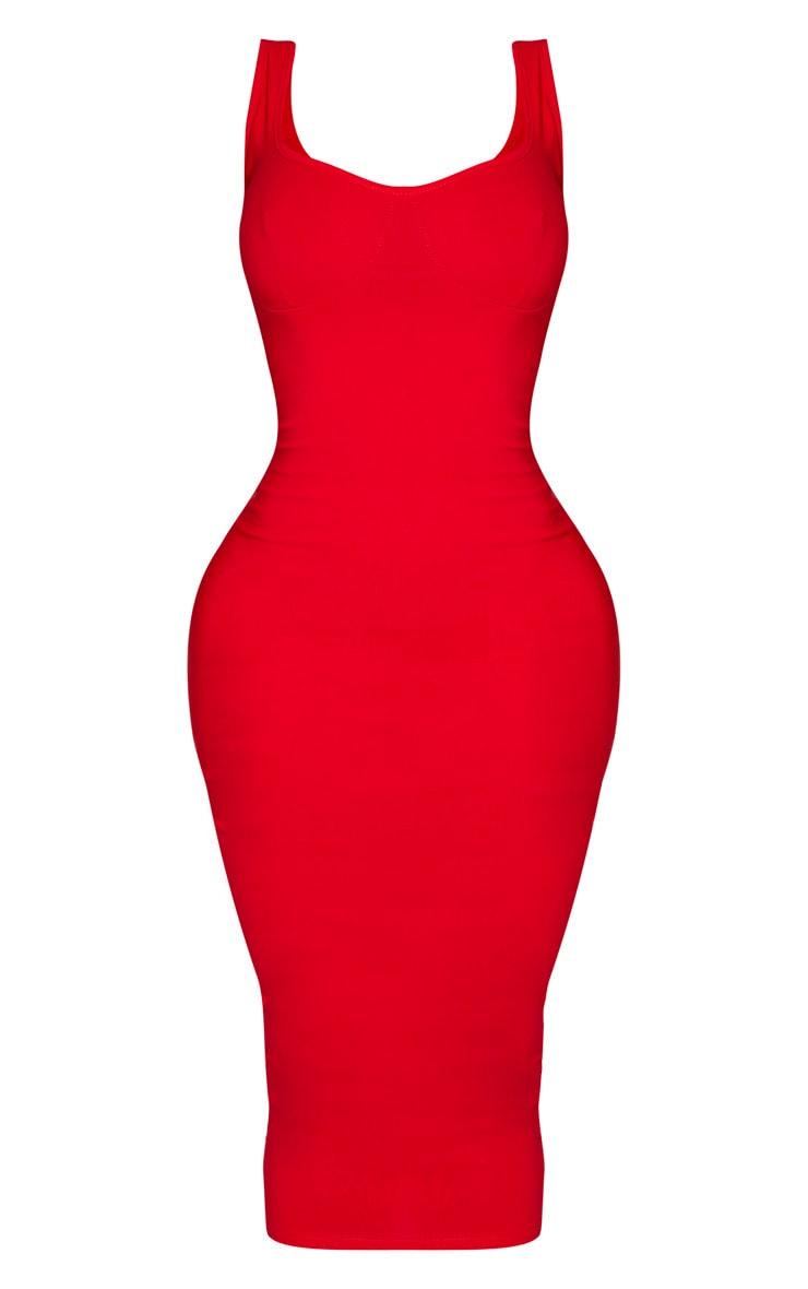 Shape - Robe mi-longue rouge à détail bonnets et fines bretelles 3