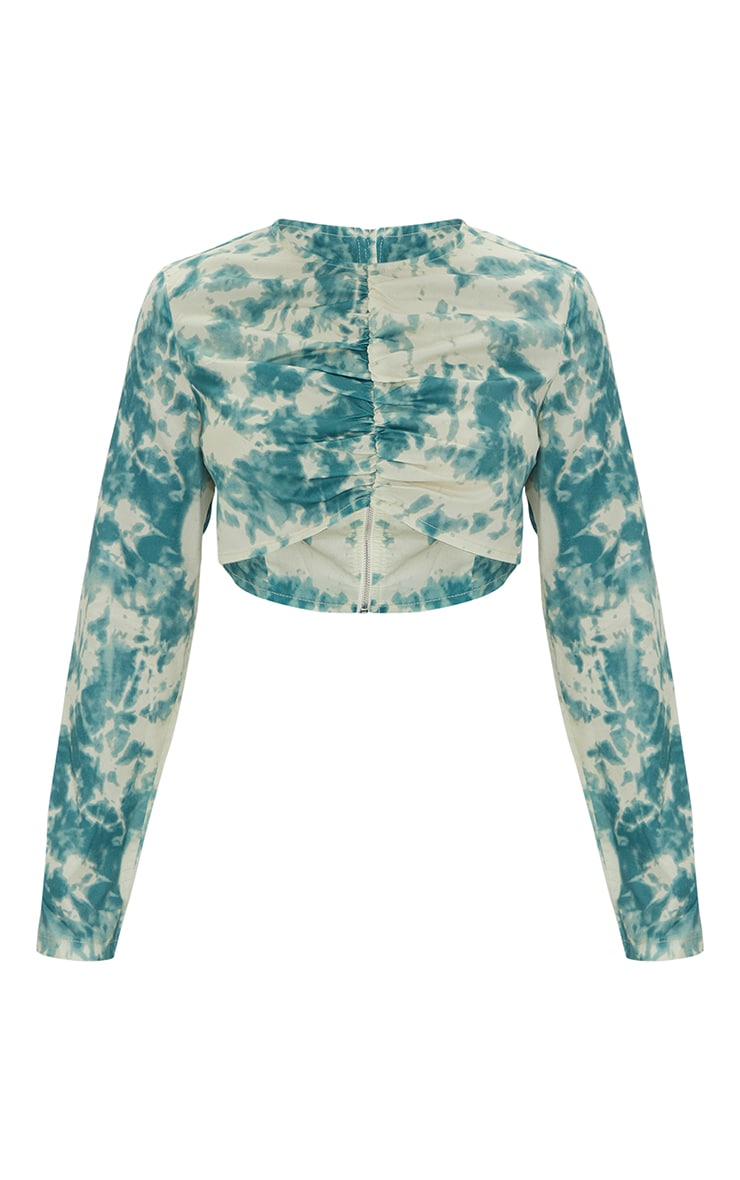 Petite Khaki Tie Dye Ruched Bust Long Sleeve Crop Top 5