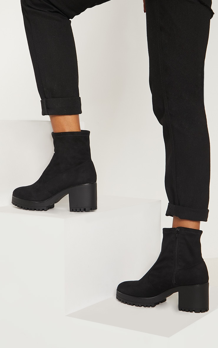 Black Chunky Sock Boot  1