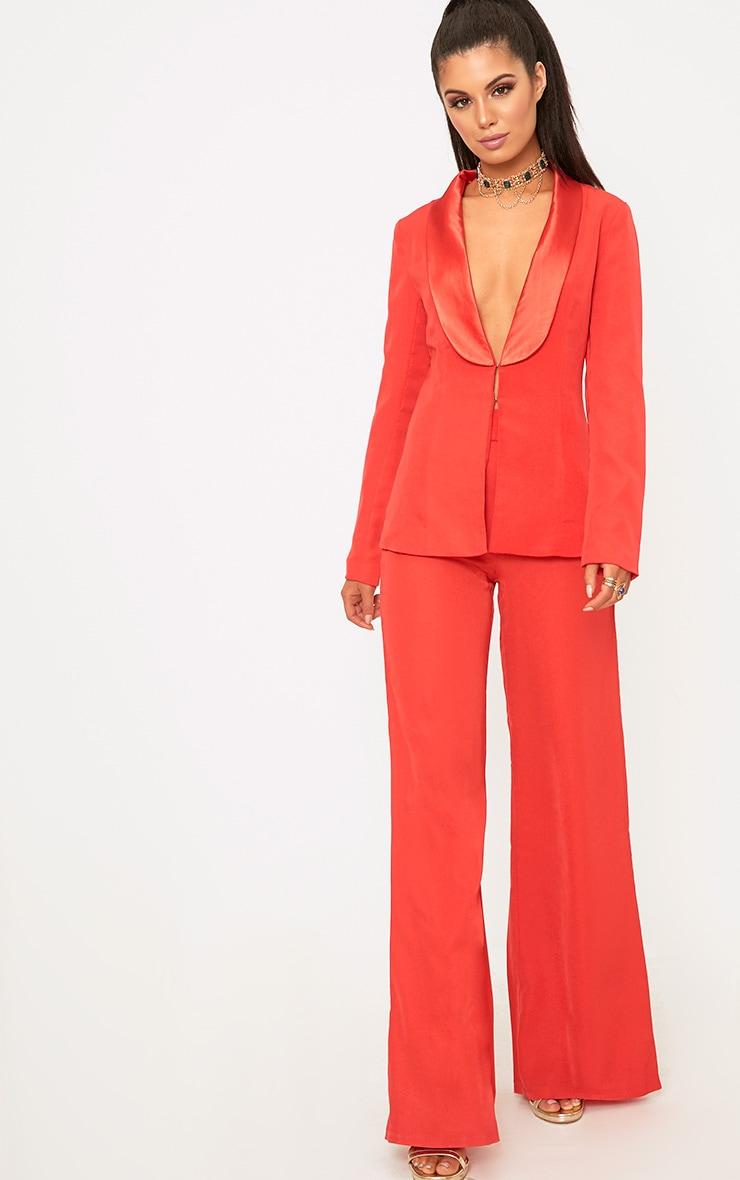 Red Satin Lapel Suit Jacket 4
