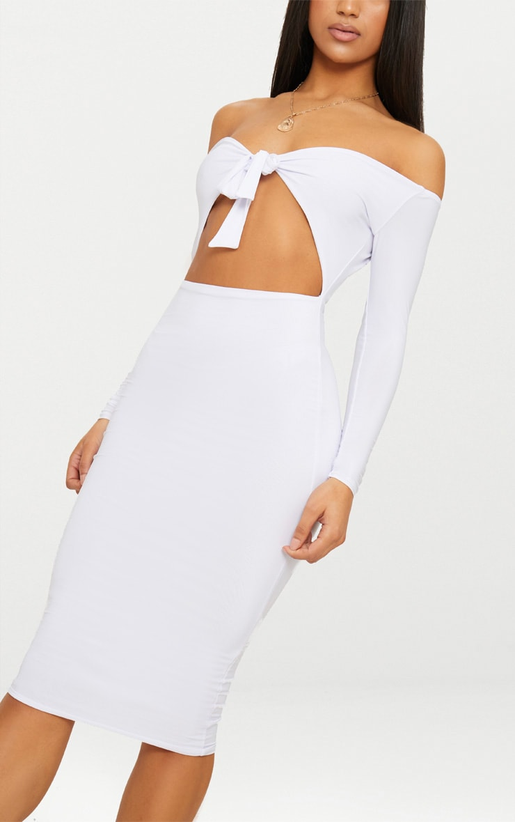 White Double Layer Slinky Tie Detail Bardot Midi Dress 4