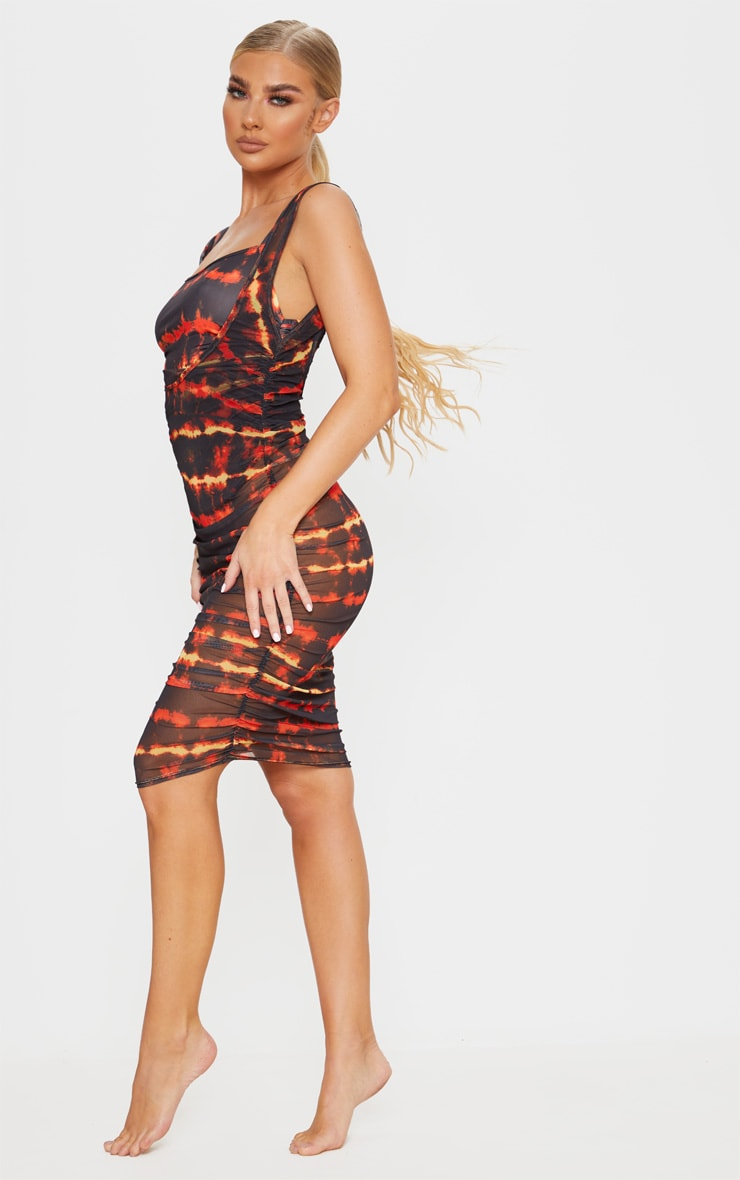 Red Tie Dye Ruched Side Midi Beach Dress 4