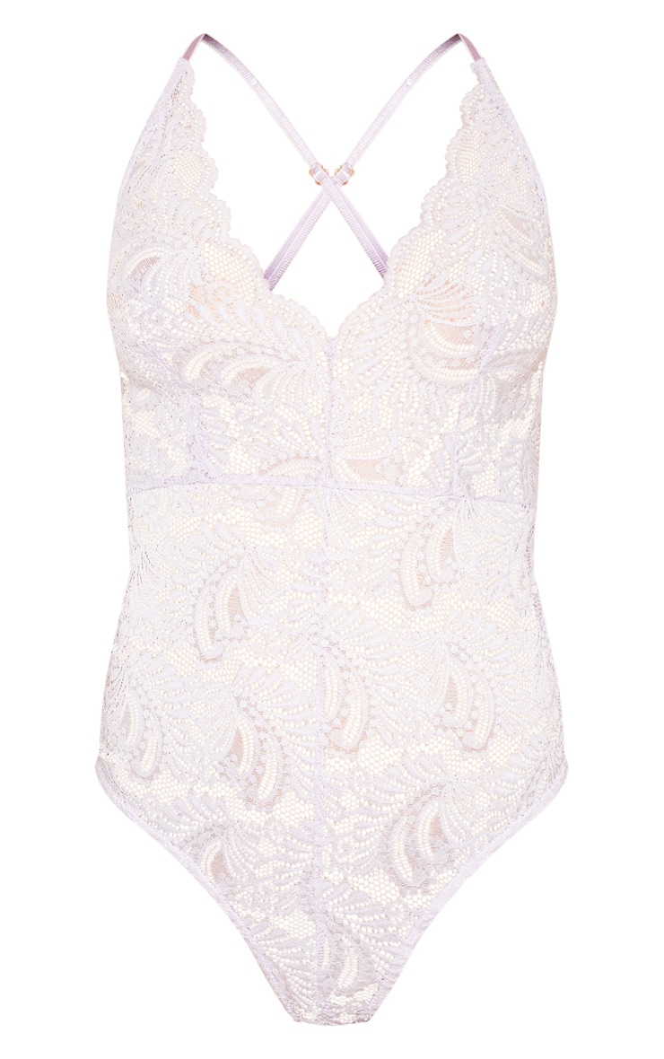 Lilac Lace Cross Back Bodysuit 3