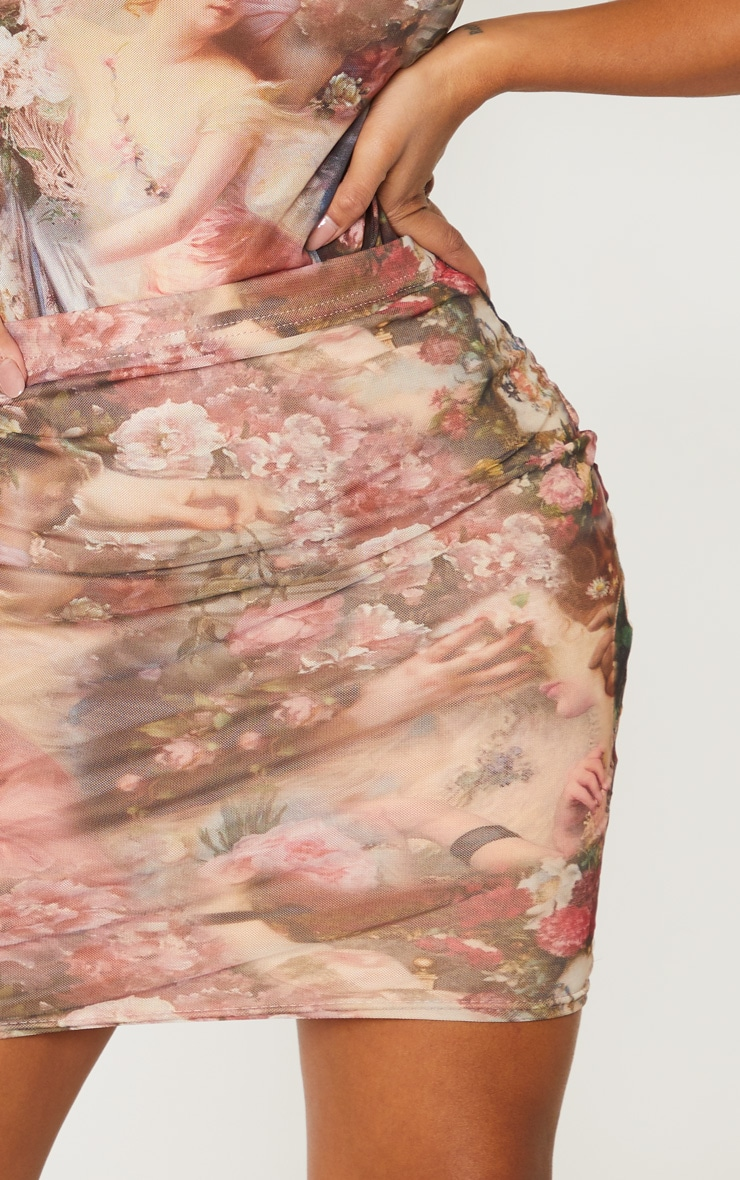 Shape Nude Renaissance Print Bodycon Skirt 6