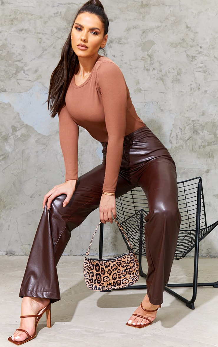 Tall Chocolate Ribbed Shoulder Pad Long Sleeve Bodysuit 3