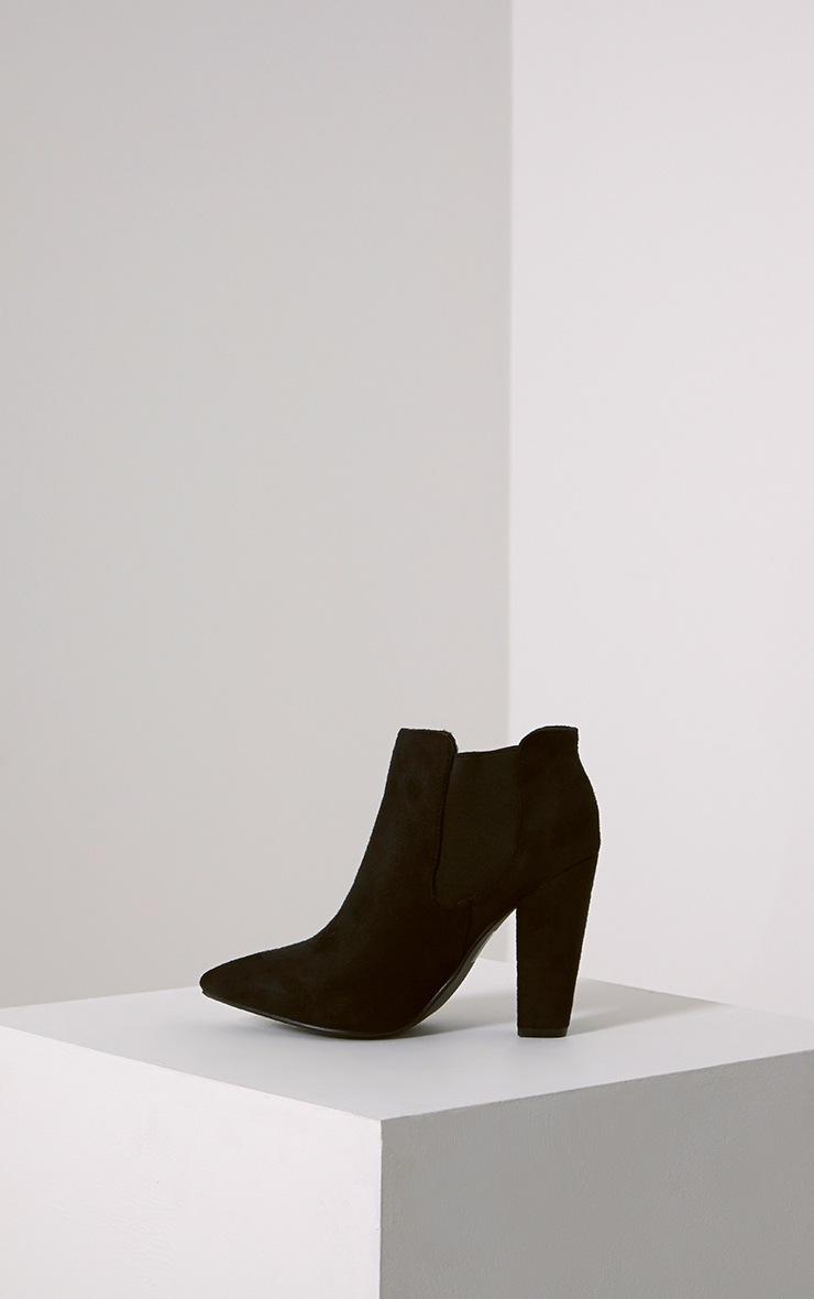 Bridget Black Faux Suede Heeled Chelsea Ankle Boots 4