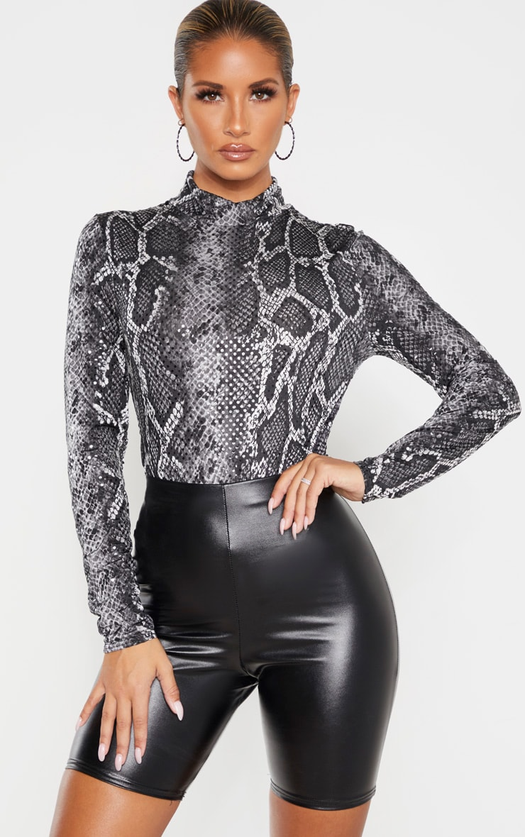 Grey Snake Sequin High Neck Bodysuit  1