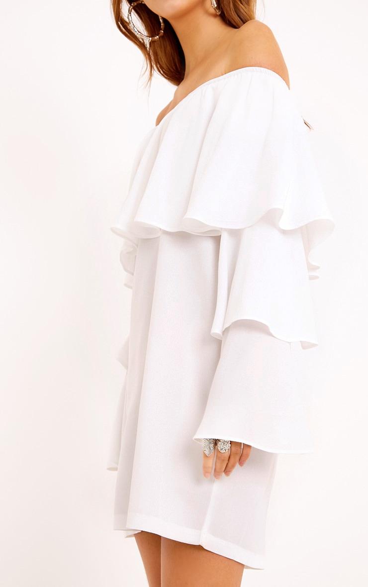 Neah White Bardot Layered Frill Shift Dress 5