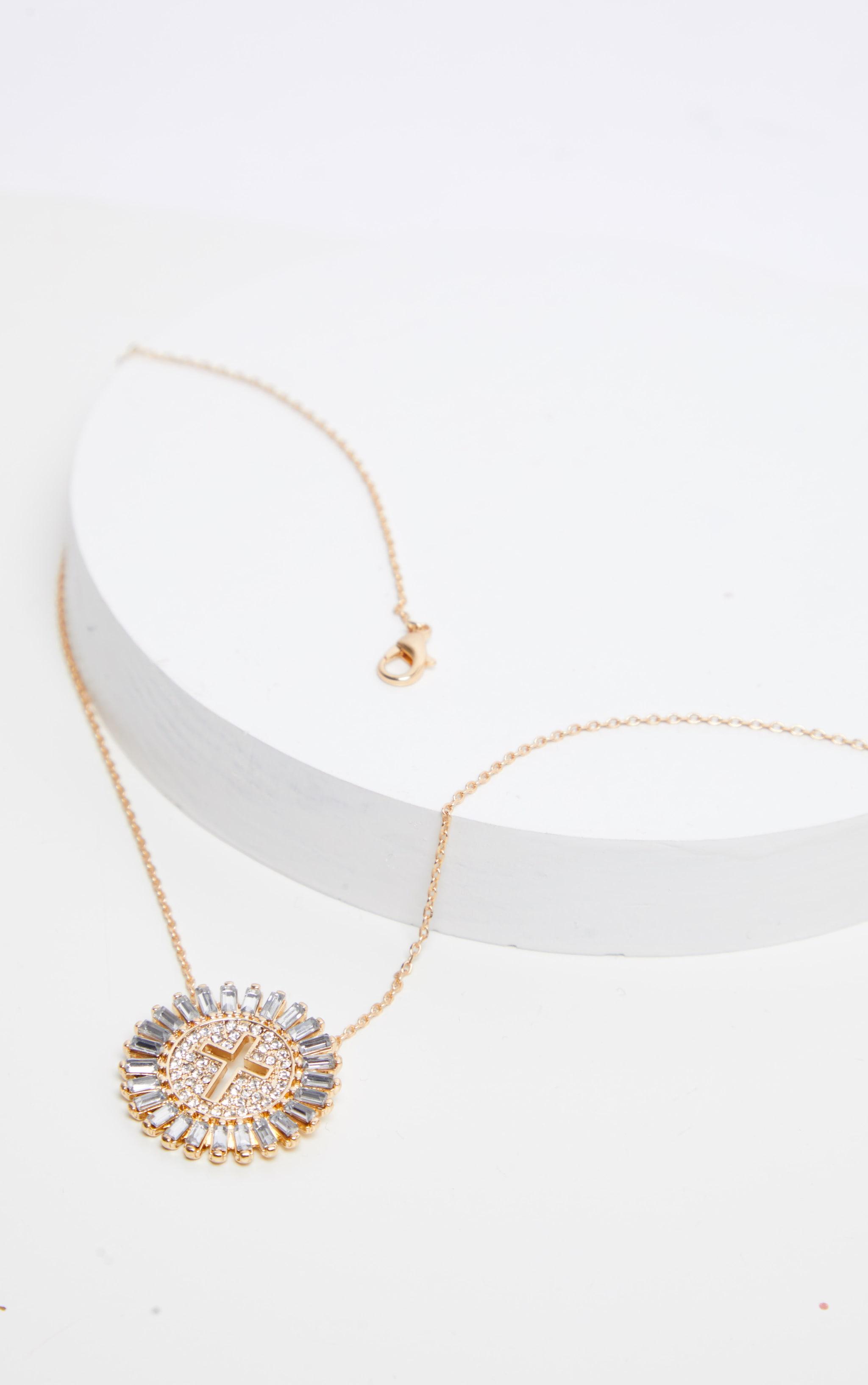 Gold Diamante Circle Cross Pendant Necklace  1