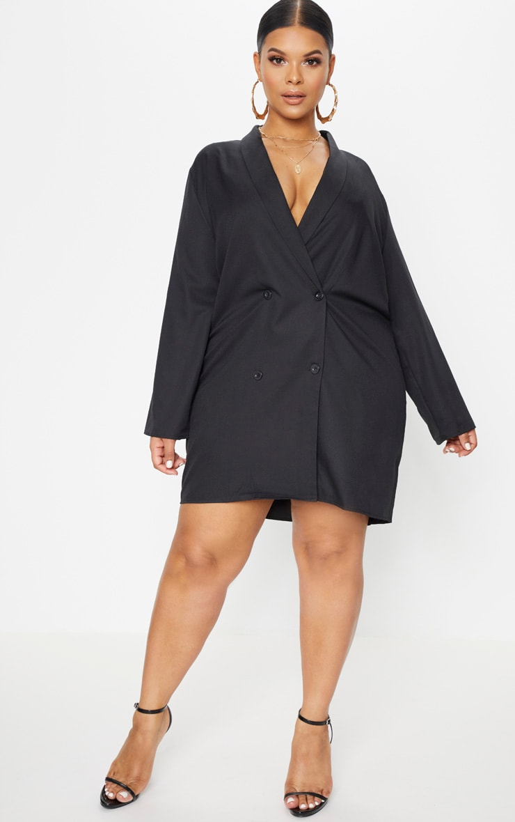 Plus Black Oversized Blazer Dress 4