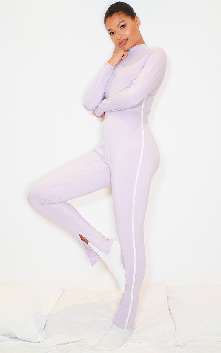 Lilac Sports Stripe High Neck Jumpsuit 2