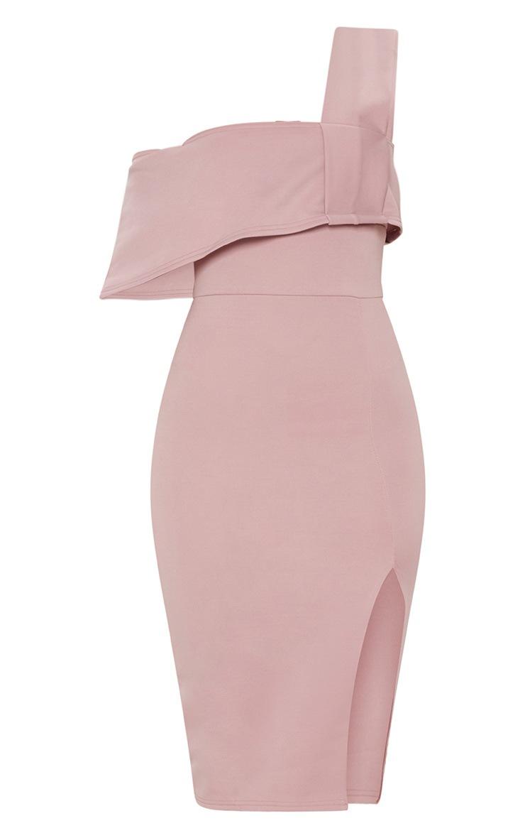 Dusty Pink Asymmetric Strap Split Detail Midi Dress 3