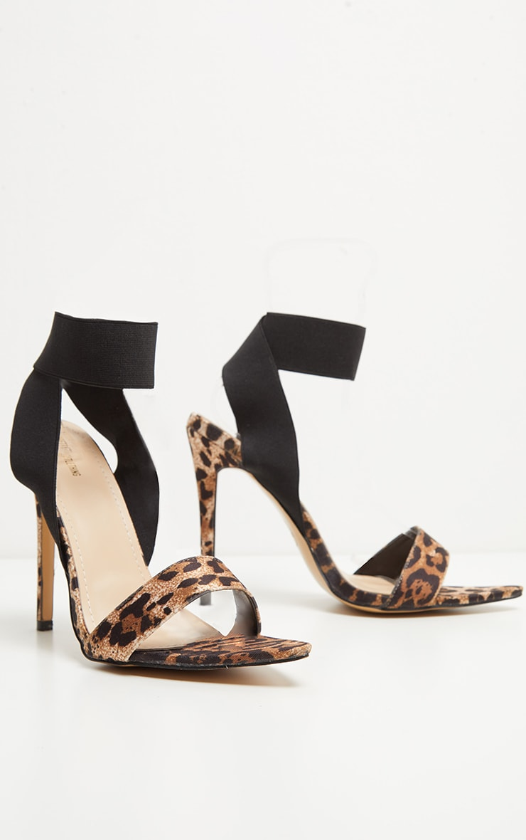 Leopard Elastic Point Toe Strappy Sandal 3