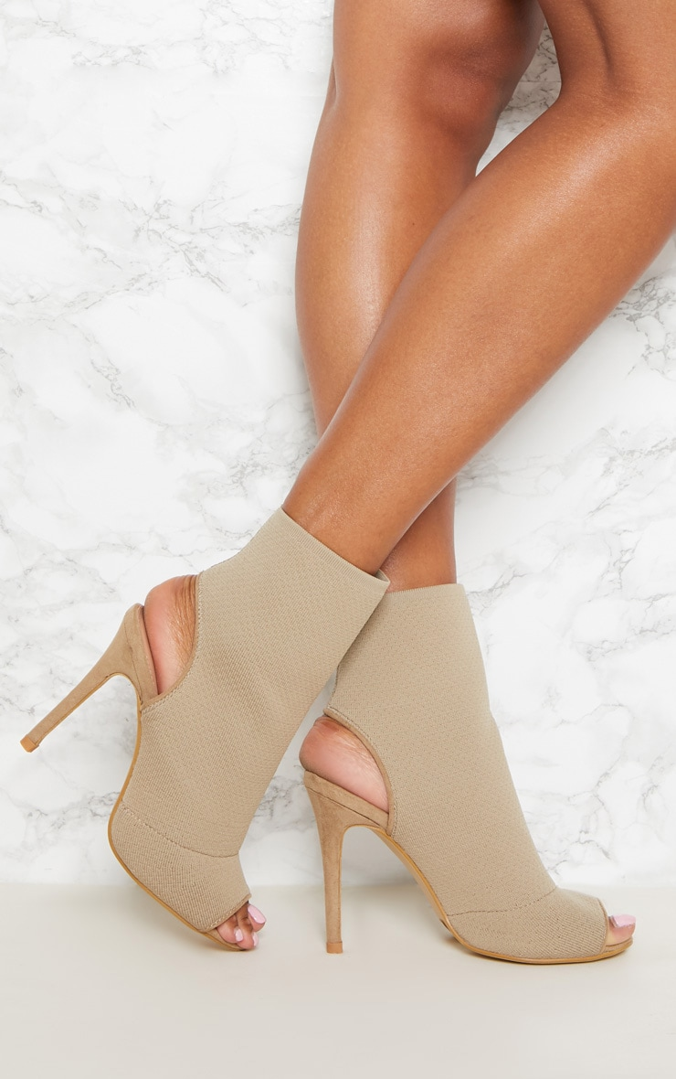 Beige Knit Peeptoe Shoe Boot
