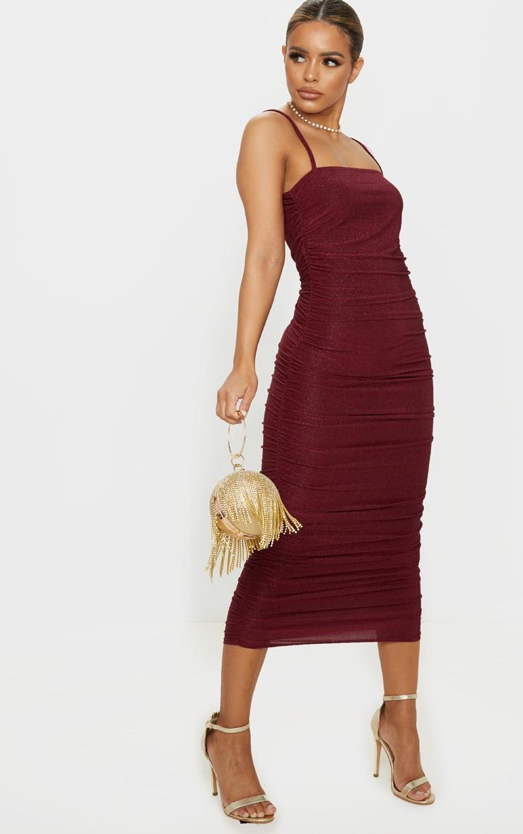 Petite Burgundy Textured Glitter Ruched Midi Dress 4