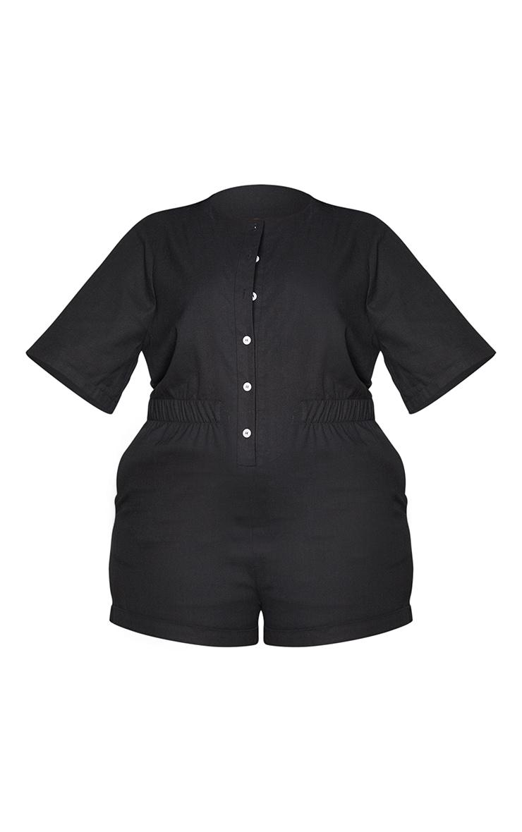 Plus Black Elasticated Cotton Button Up Playsuit 5