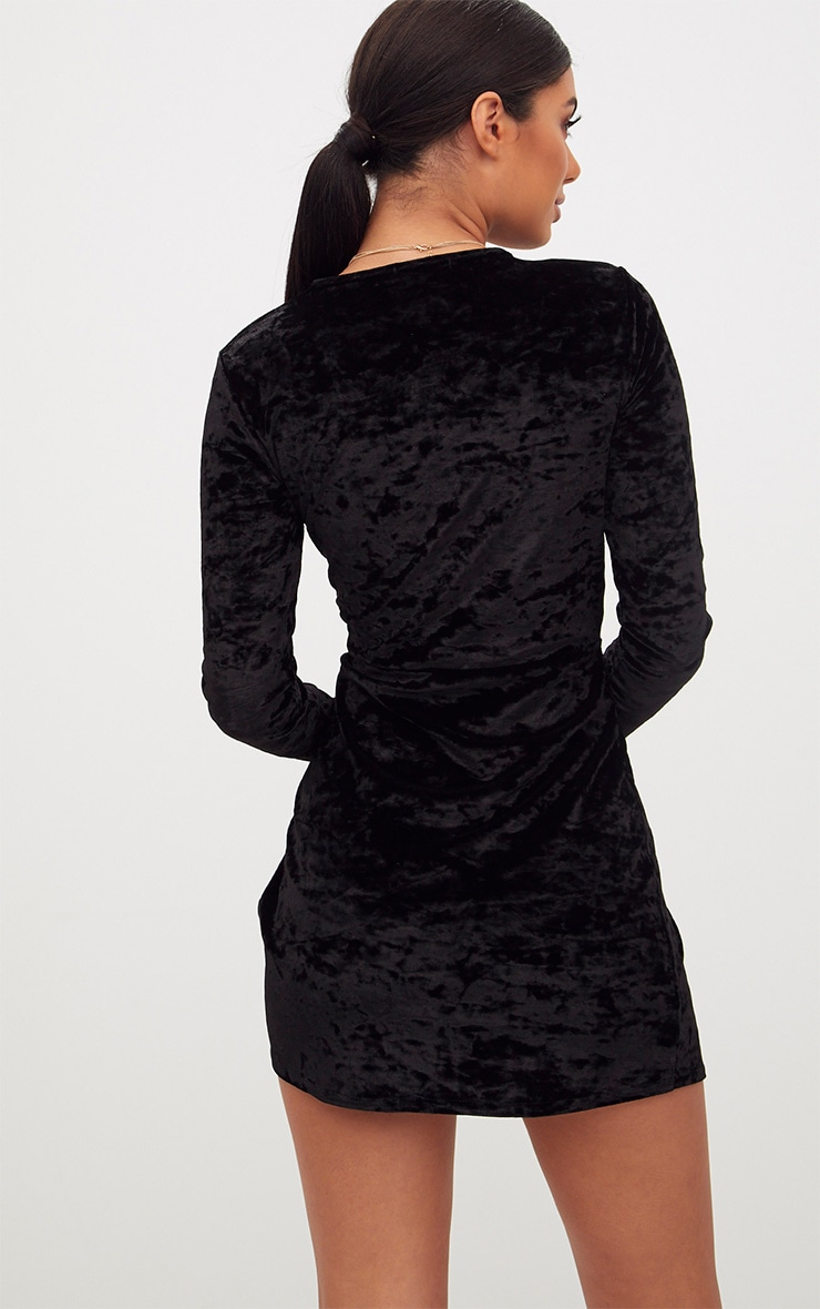 Black Velvet Knot Front Long Sleeve Bodycon Dress 2