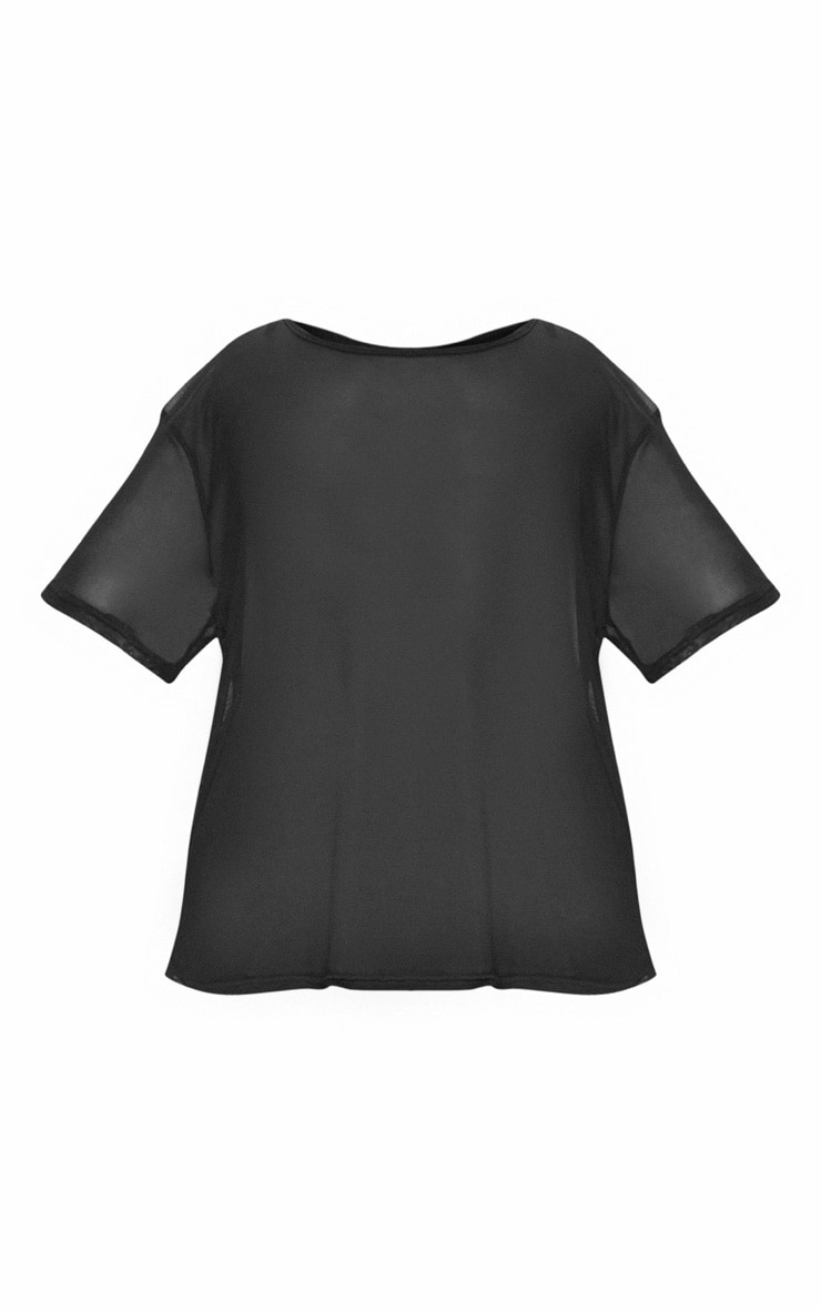 Plus Black Sheer Mesh Oversized T-Shirt 3