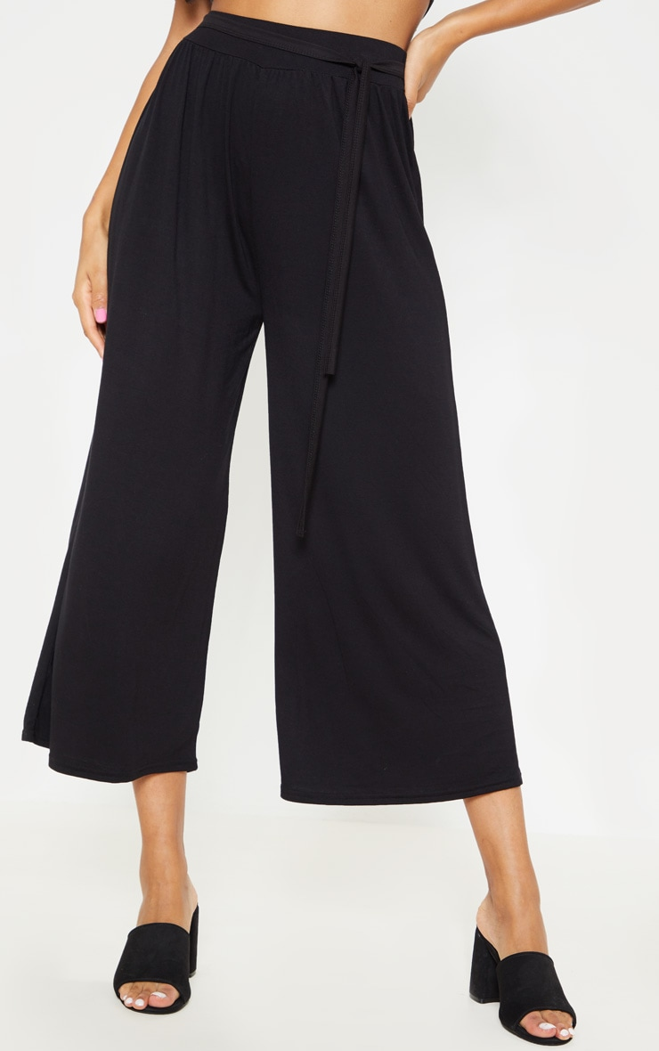 Black Gathered Waist Tie Detail Wide Leg Culotte 2