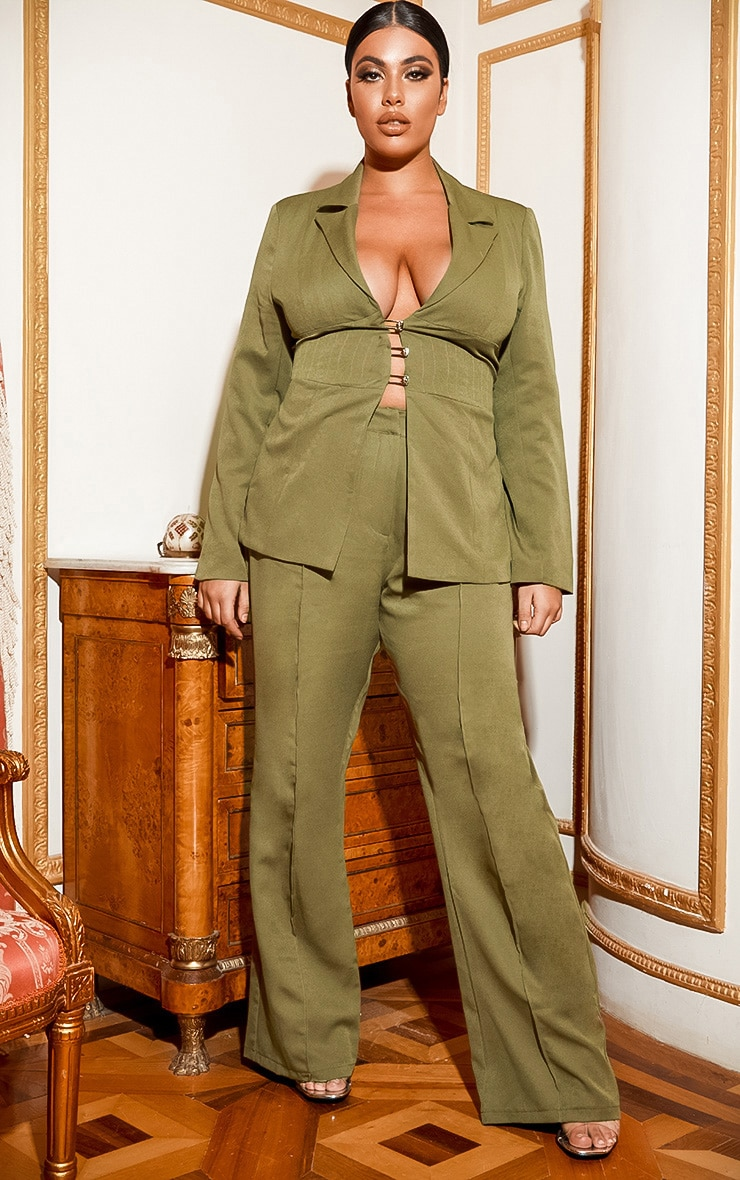 Plus Khaki Fitted Lace Up Back Blazer 6