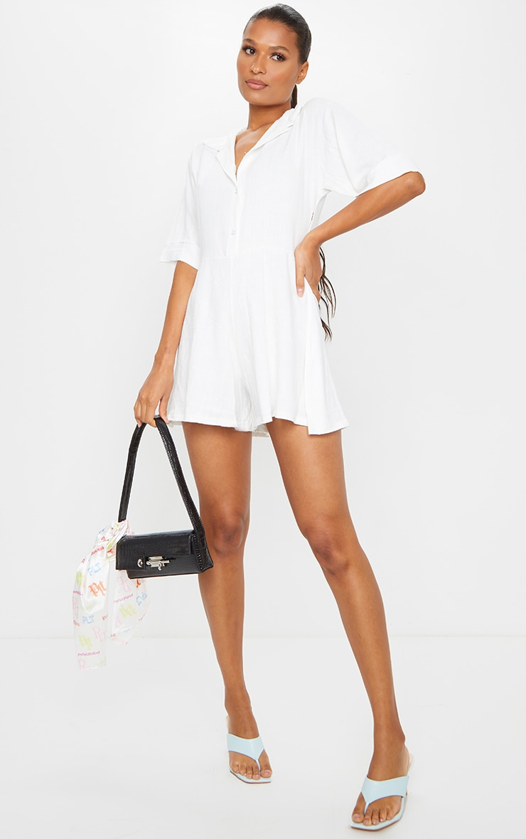 White Oversized Shirt Style Playsuit 3