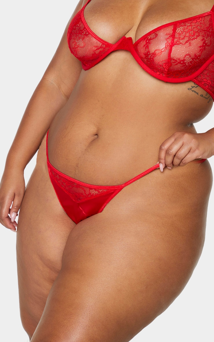 Plus Red Floral Lace And Satin G-String 4