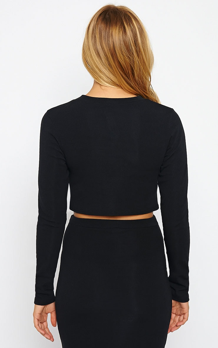 Basic Black Long Sleeve Premium Ribbed Crop Top 2