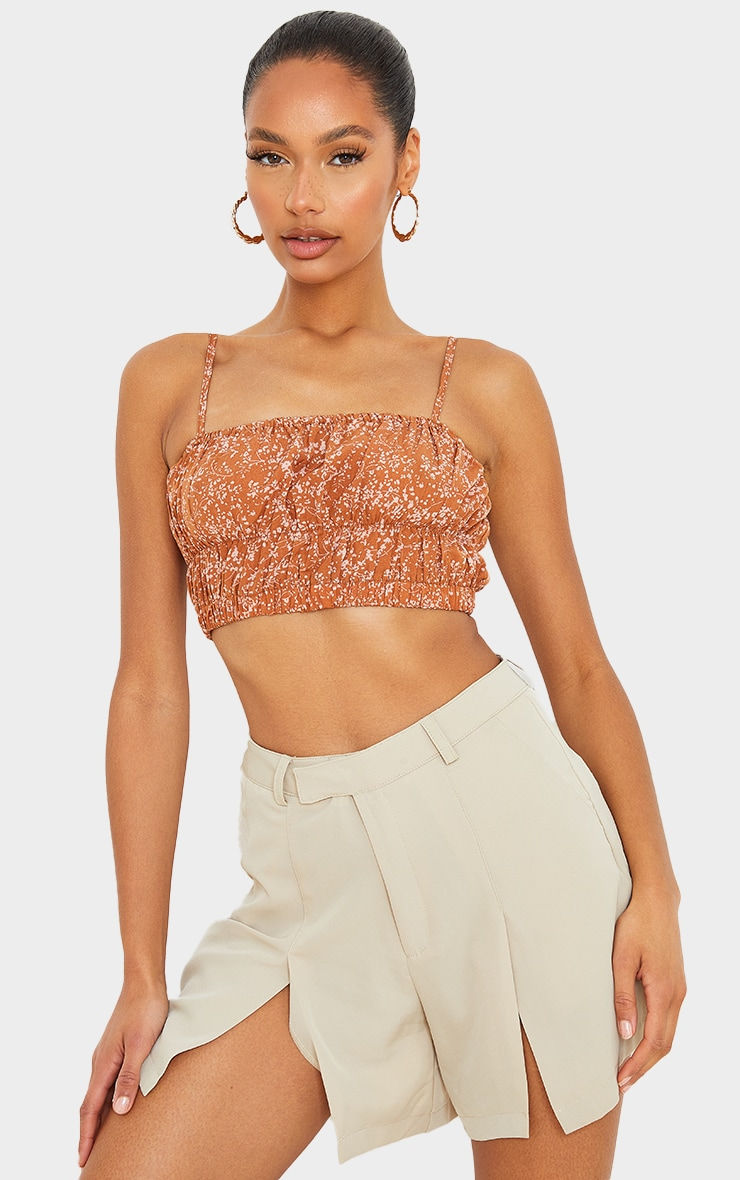 Brown Woven Floral Print Ruched Strappy Crop Top 1
