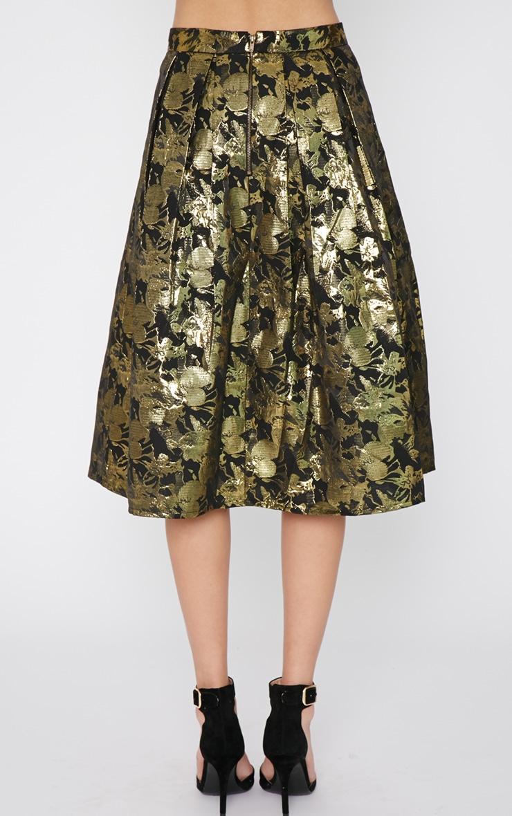 Iva Gold Floral Print A Line Skirt -12 4