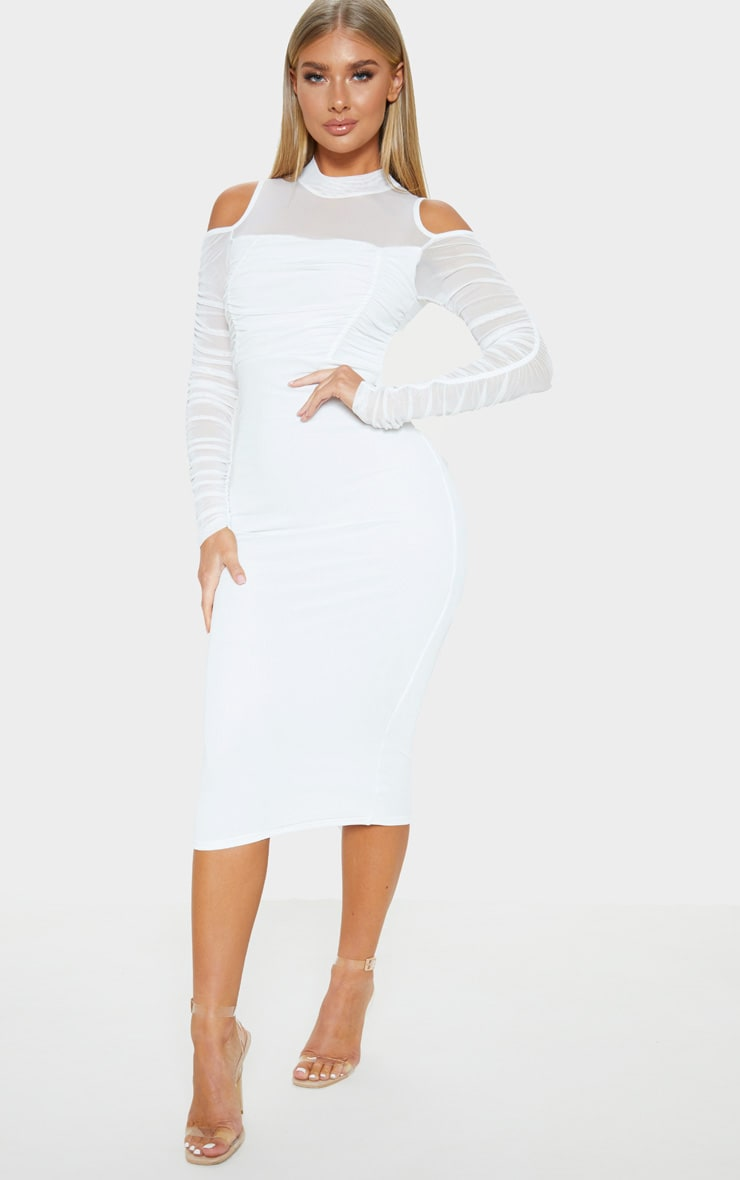 White Cold Shoulder Ruched Sleeve Midi Dress 1