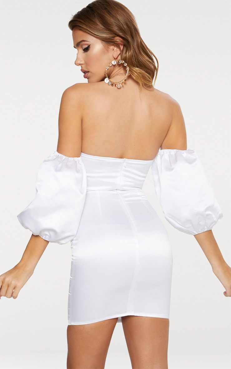 White Satin Puff Sleeve V Plunge Bardot Bodycon Dress 2