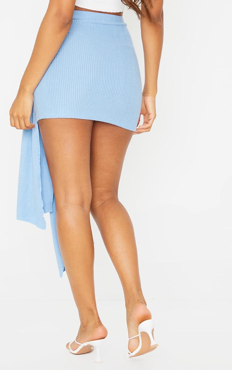 Blue Tie Detail Brushed Rib Mini Skirt 3