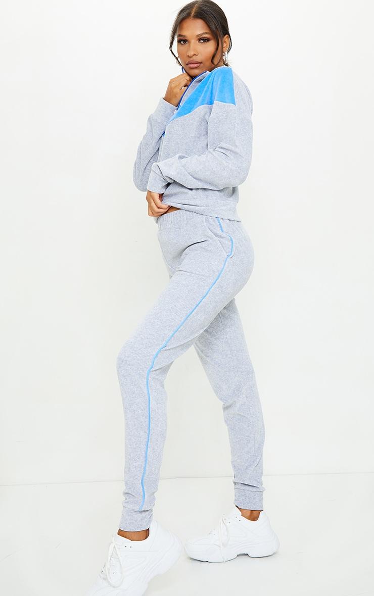 Grey Velour Contrast Side Stripe Joggers 1
