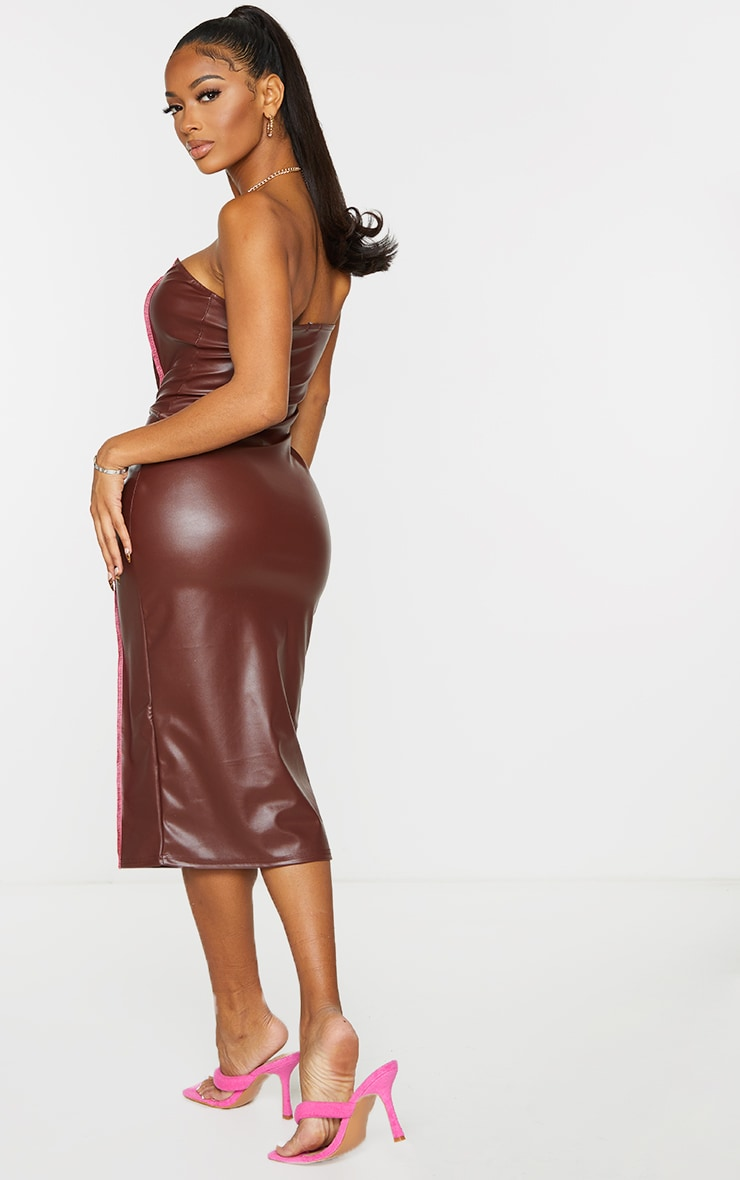 Shape Chocolate PU Overlock Detail Bandeau Midi Dress 2