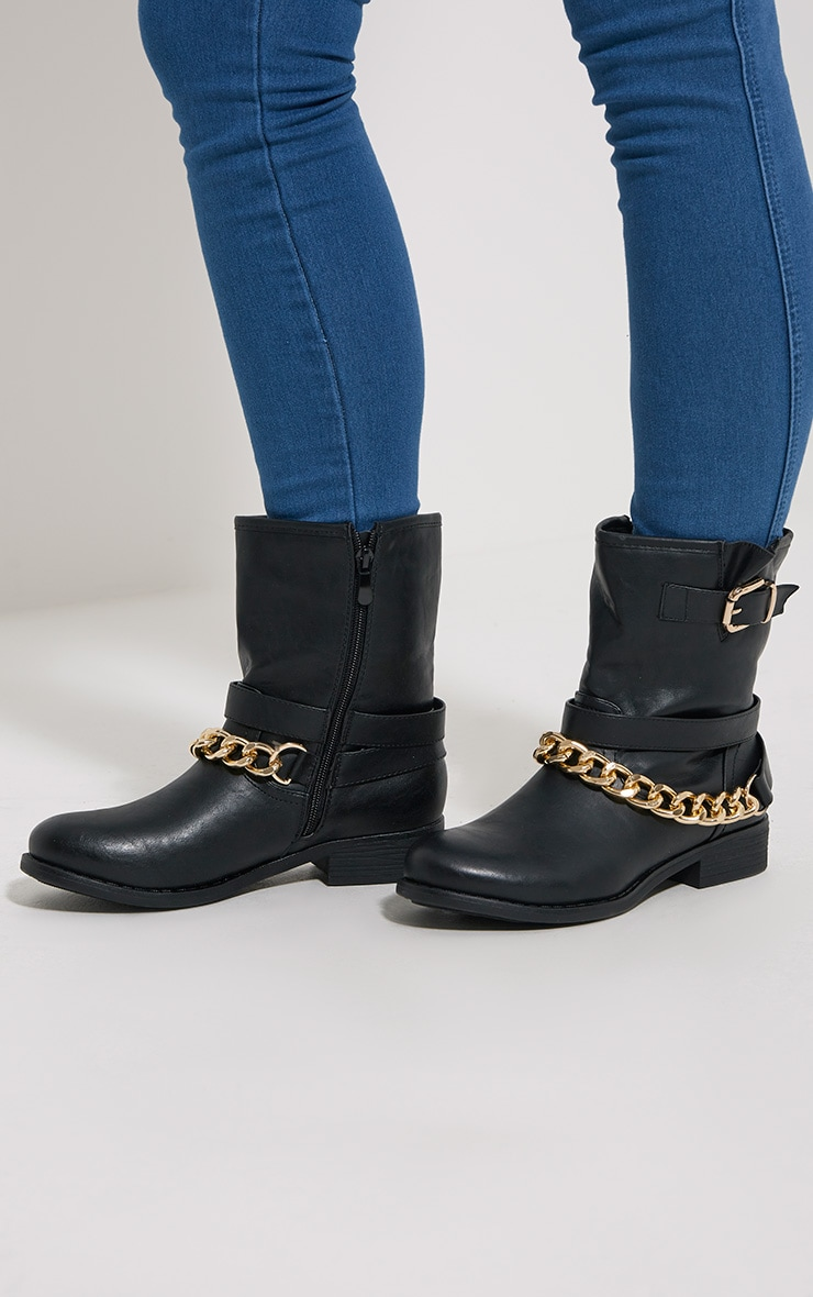 Janet Black Chain Ankle Boots 1