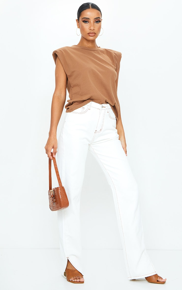 Mocha Shoulder Pad Sleeveless Oversized Top 3