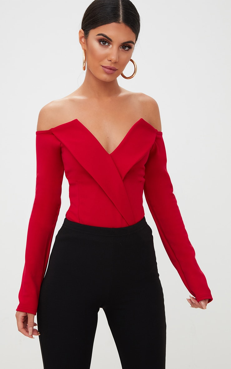 Red Tux Blazer Detail Bardot Bodysuit  1