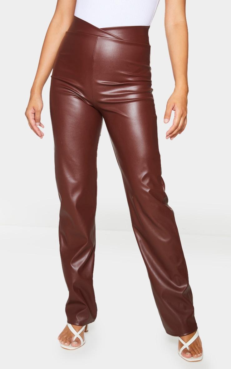 Chocolate Dip Waist Straight Leg Faux Leather Pants 2
