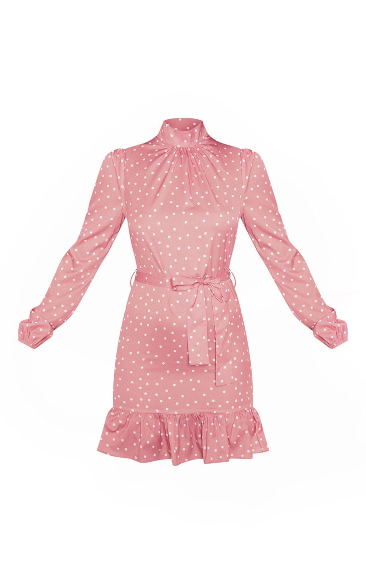 Pink Polka Dot High Neck Long Sleeve Smock Dress 3