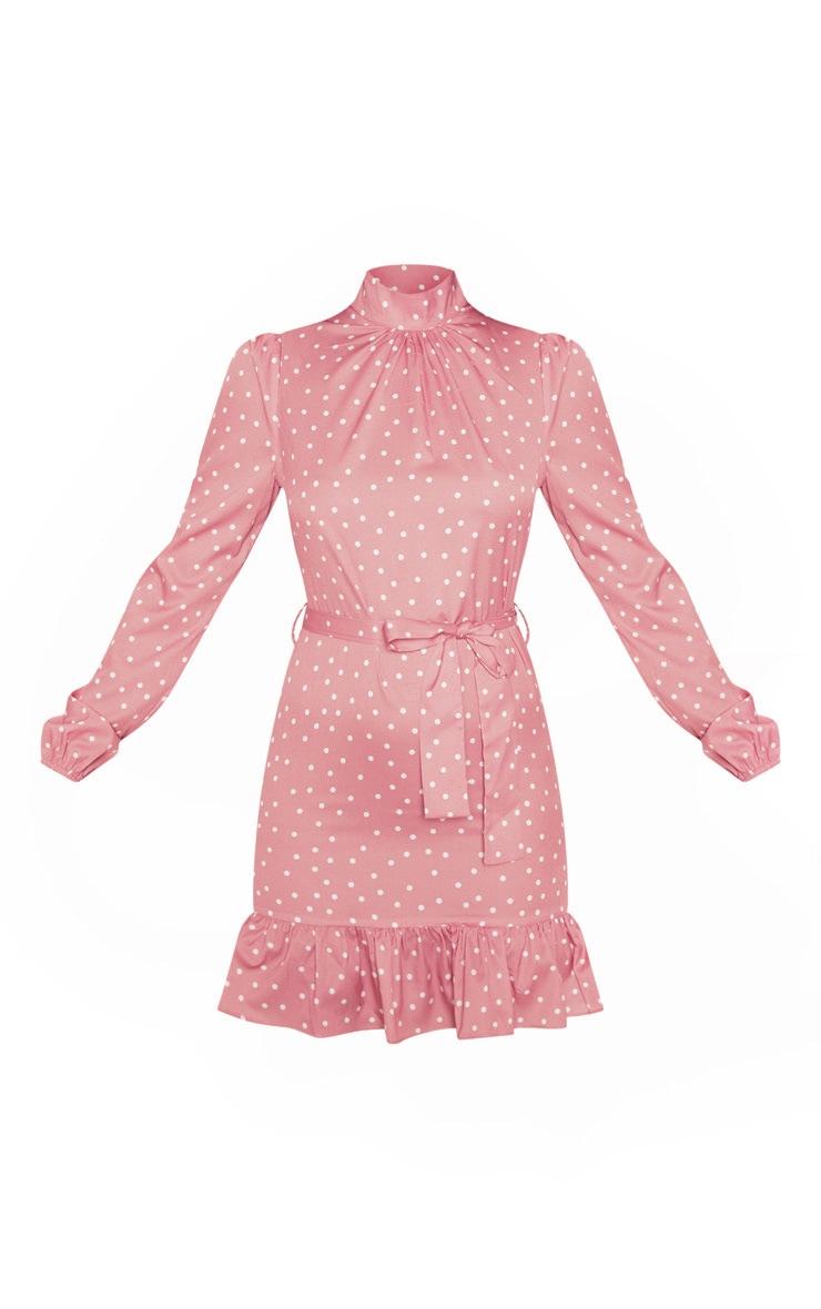 Robe blouse rose à pois à manches longues et col haut 3