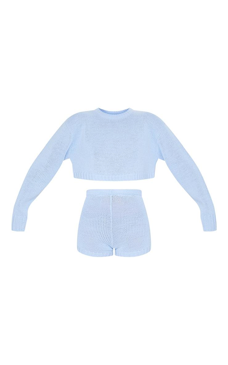Baby Blue Deep Hem Knitted Jumper And Short Set 5