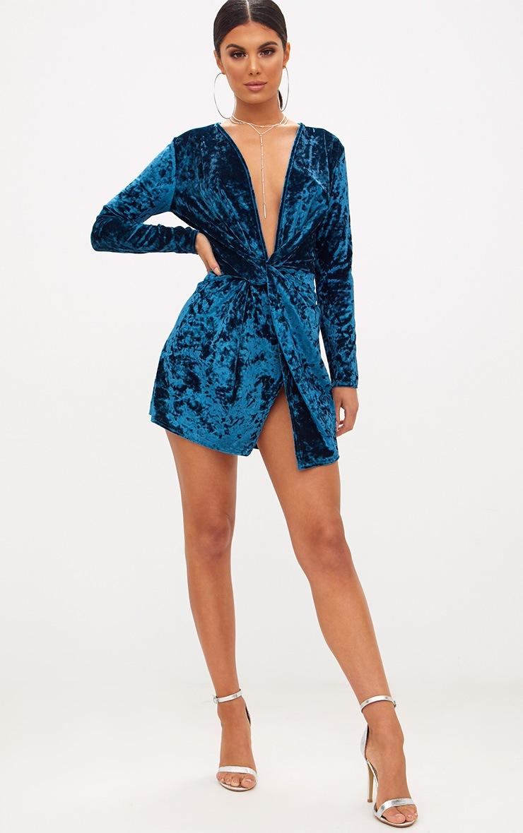 Teal Velvet Knot Front Long Sleeve Bodycon Dress 4