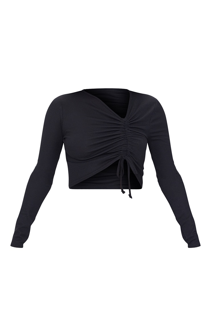 Black Rib Drawstring Side Long Sleeve Crop Top 5