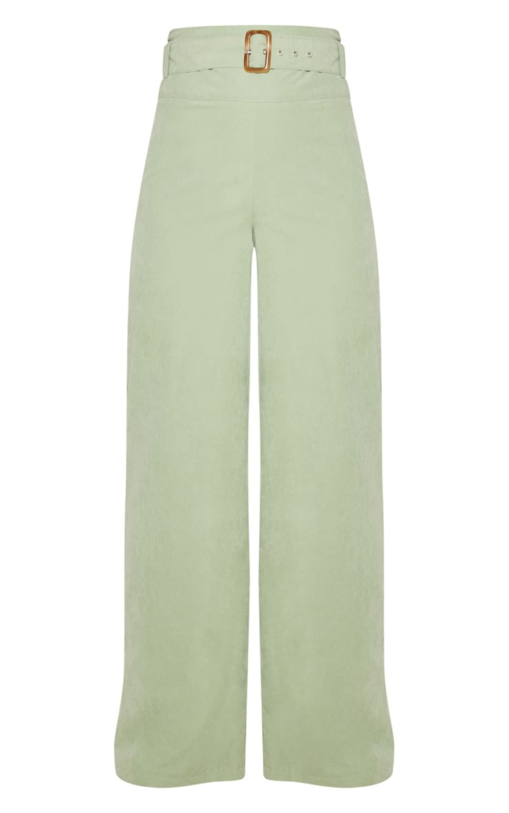 Sage Green Faux Suede Belted Wide Leg Pants 3