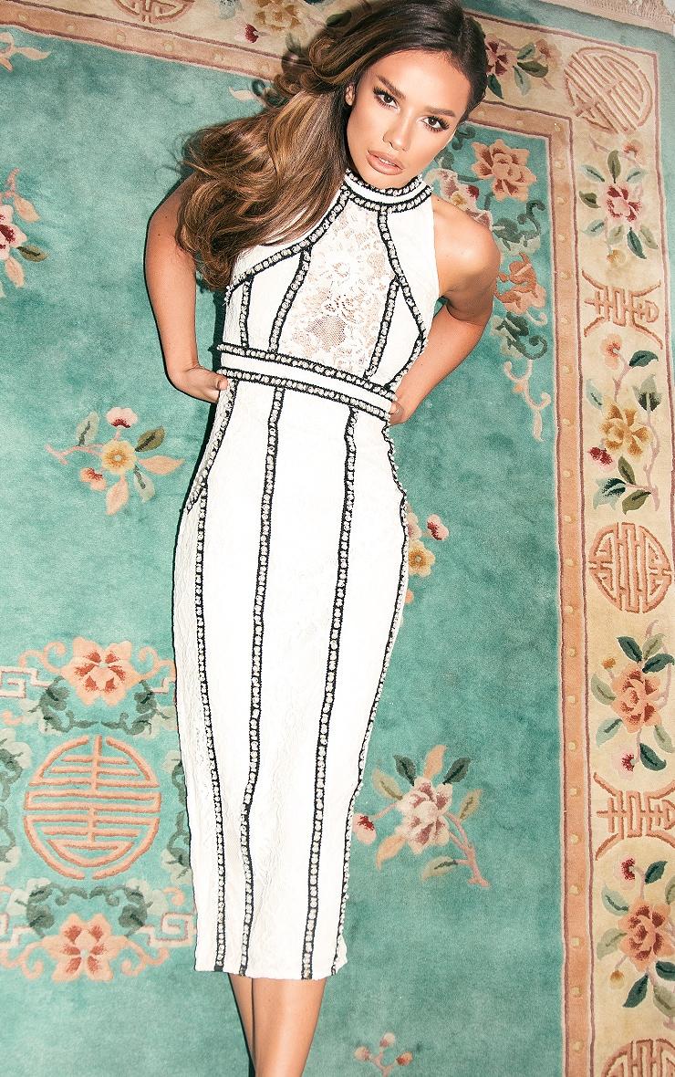 Francessia White Premium Embellished Midi Dress 1