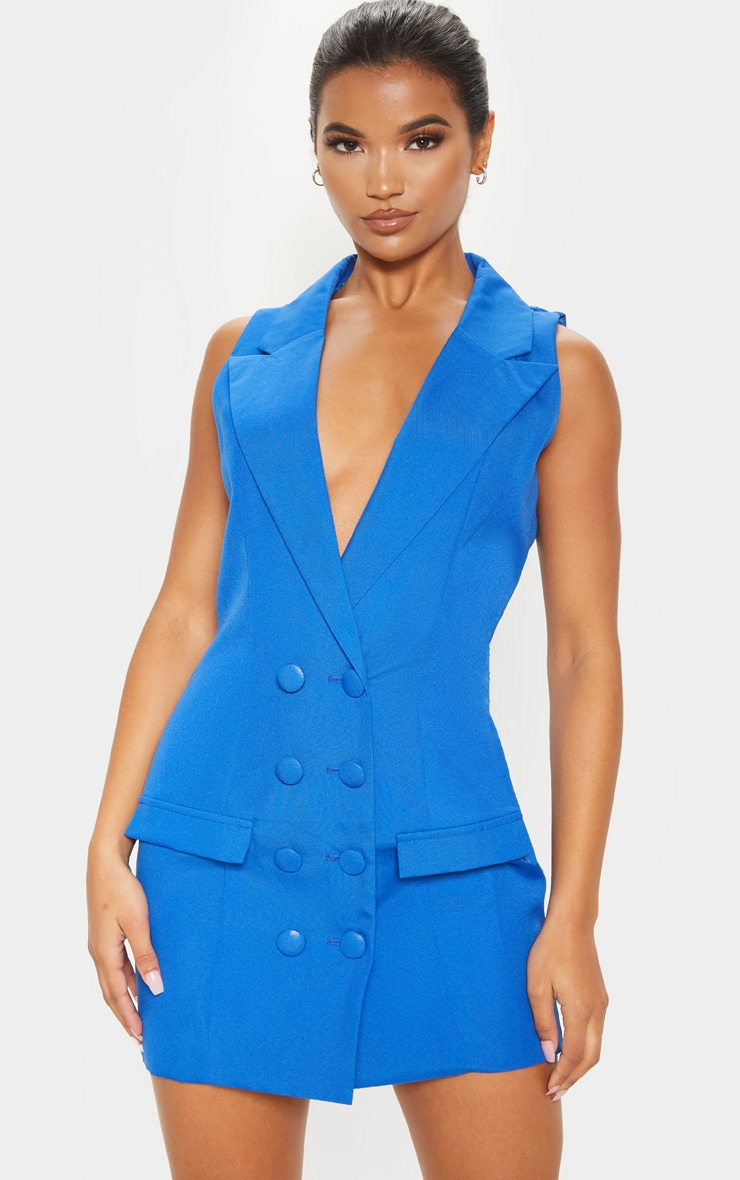 Cobalt Extreme Plunge Sleeveless Blazer Dress 1